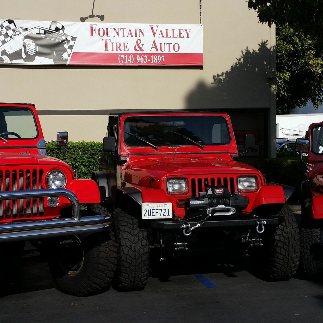 Red Jeeps 76 CJ, 85 CJ and 90 YJ